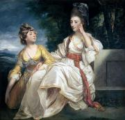 Deep In Thought Paintings - Mrs Thrale and her Daughter Hester by Sir Joshua Reynolds