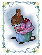 Character Pastels Prints - Mrs Tittlemouse After Beatrix Potter Print by Joyce Geleynse
