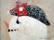 Frosty Mixed Media Posters - Mrs.Frosty Poster by Paula Weber