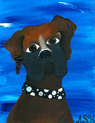 Boxer Painting Framed Prints - Ms. Daisy Framed Print by Abby Haynes