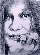 Robbi Musser Drawings Posters - Ms. Joplin Poster by Robbi  Musser