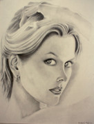 Eye Details Drawings Prints - Ms. Kidman Print by Ted Castor