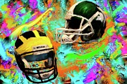 Football Paintings - MSU UM Football by Donald Pavlica