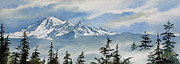 Landscape Digital Paintings - Mt. Baker Mist by James Williamson