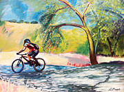 Mountain Biking Paintings - Mt. Bike with Tree Shadows by Colleen Proppe