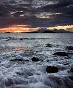 Sunset Seascape Posters - Mt. Edgecumbe Sunset Poster by Mike  Dawson