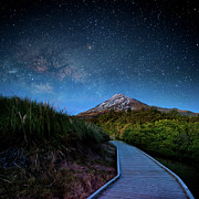Boardwalk Posters - Mt. Ekmond At Night With Starlight Poster by Coolbiere Photograph