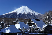 Mountain In Snow Posters - Mt Fuji Poster by Fuminana