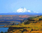Barns Digital Art - Mt. Hood and the Columbia River Gorge by Margaret Hood