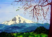 Sking Prints - Mt Hood in winter Print by Lisa Rose Musselwhite