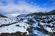 Waterfall Prints - Mt. Hood Morning Print by Mike  Dawson