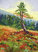 Lone Tree Painting Framed Prints - Mt. Jumbo Tree AK Framed Print by Ginger Concepcion
