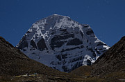 Moonlit Night Framed Prints - Mt. Kailash in Moonlight Framed Print by Hitendra SINKAR