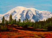 Anke Wheeler Paintings - Mt. Rainier by Anke Wheeler