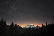 Pierce County Posters - Mt Rainier At Night Poster by David Hogan