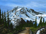 National Parks Paintings - Mt Rainier from Heller Pass by Carlene Salazar