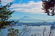 Commencement Bay Prints - Mt. Rainier over Tide Flats Print by Roger Reeves  and Terrie Heslop