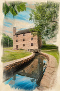 Slaves Posters - Mt. Vernon Gristmill Art Poster by Jim Moore