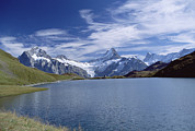 Bernese Photos - Mt Wetterhorn And Mt Schreckhorn, Alps by Konrad Wothe