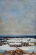 Hudson Valley Paintings - Mt Zion in Winter by Robert James Hacunda