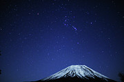 Winter Framed Prints - Mt.fuji And Winter Stars Framed Print by Takeshi.K