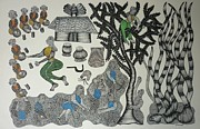 Gond Tribal Art Painting Originals - Mu 45  by Mangru Uikey