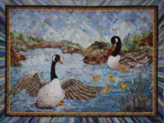 Canadian Geese Tapestries - Textiles - Much Ado about nothing by Kathy McNeil