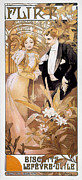 Courtship Framed Prints - MUCHA: BISCUIT AD, c1895 Framed Print by Granger