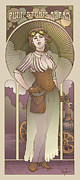 Earth Tone Posters - Mucha Inspired Steam Maiden Print Poster by Dani Kaulakis