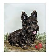 Scottish Terrier Digital Art - Muddy - Scottish Terrier by Sue Rundle-Hughes