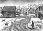 Agriculture Drawings - Muddy South Dakota Farmyard by Dawn Senior-Trask