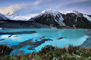 Turquoise Mountain Lake Prints - Mueller Glacier Lake And Mount Cook At Dusk Print by Nora Carol Photography