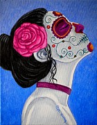 Painted Faces Framed Prints - Muerte Tranquila  Framed Print by Al  Molina
