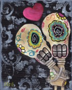 Skulls Paintings - Muertos de Amor by  Abril Andrade Griffith
