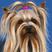 Michelle Wrighton Posters - Muffin - Silky Terrier Dog Poster by Michelle Wrighton