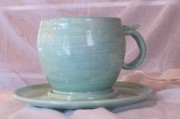 Mug Ceramics Acrylic Prints - Mug and saucer Acrylic Print by Lisa Dunn