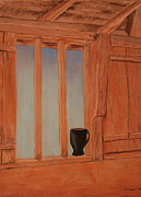 Cabin Window Pastels Framed Prints - Mug In The Window Framed Print by Jeffrey Brown