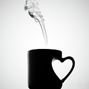 Black And White Photography Photos - Mug Of Coffee With Handle Of Heart Shape by Saulgranda