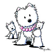 White Terrier Drawings - Muggles Mom and Siblings by Kim Niles