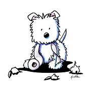 White Terrier Drawings - Muggles With TP by Kim Niles