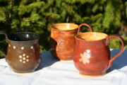 Brown Ceramics Metal Prints - Mugs Metal Print by Monika Hood