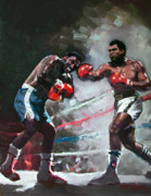 Ali Painting Posters - Muhammad Ali and Joe Frazier Poster by Ylli Haruni