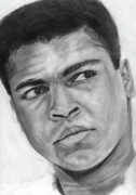 Boxer Drawings Posters - Muhammad Ali Poster by David Rives