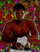 Boxing Digital Art - Muhammad Ali Word Mosaic by Paul Van Scott