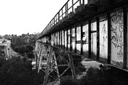 Black And White Photographs Photos - Muir Railroad Trestle in Martinez California . With Highway . 7D10238 . black and white by Wingsdomain Art and Photography