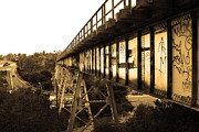 Sepia Photos Posters - Muir Railroad Trestle in Martinez California . With Highway . 7D10238 . sepia Poster by Wingsdomain Art and Photography