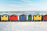 Cape Town Framed Prints - Muizenberg Beach Huts 2 Framed Print by Neil Overy