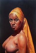 Mujer Con Turbante Print by Hernan Miranda