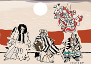 Theater Drawings - Mukikabuki Theatre by Susie Morrison