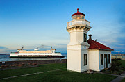 Red Roof Prints - Mukilteo Ferry and Lighthouse Print by Inge Johnsson